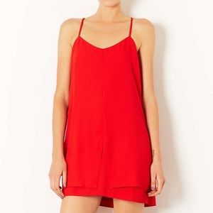 Topshop Red Spaghetti Strap Shift Dress